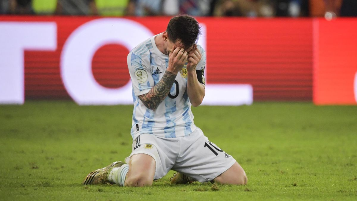 Argentina's Lionel Messi reacts in celebration after winning the Conmebol 2021 Copa America football tournament final match against Brazil at Maracana Stadium in Rio de Janeiro, Brazil, on July 10, 2021