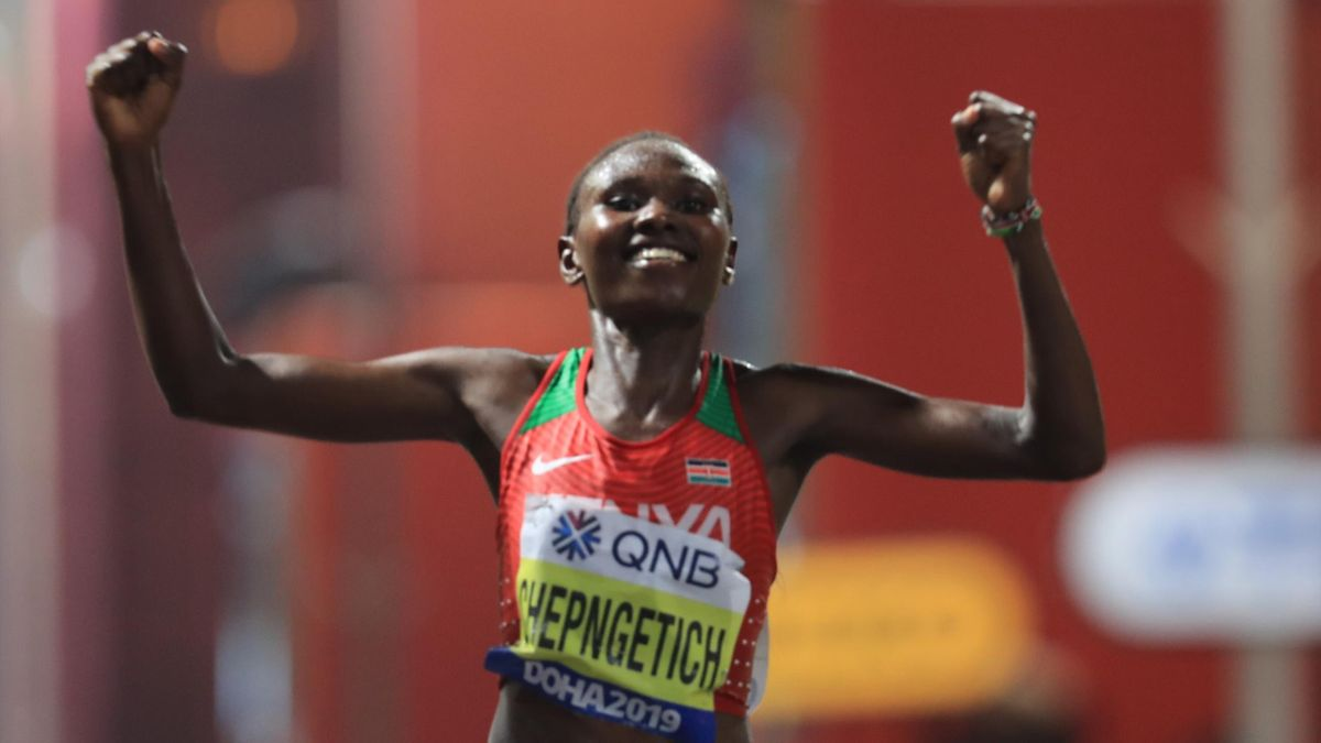 Kenya's Ruth Chepngetich celebrates after winning the Women's Marathon at the 2019 IAAF World Athletics Championships in Doha on September 27, 2019.