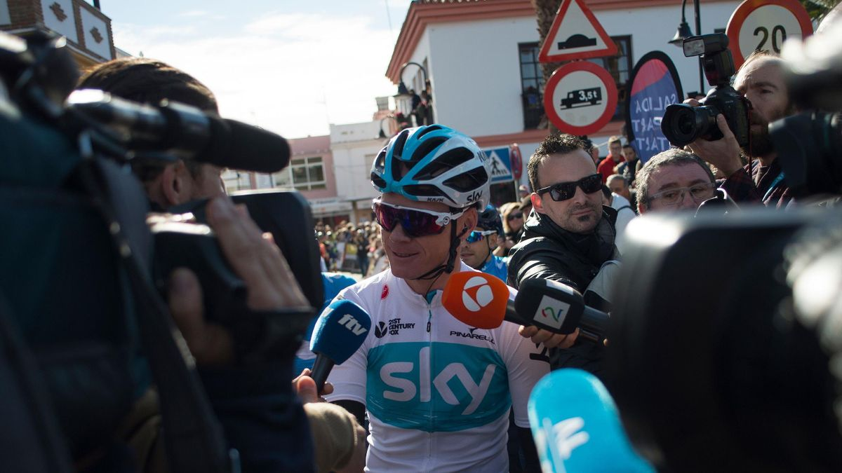 Team Sky's British cyclist Christopher Froome talks to the media prior to the first stage of the 'Ruta del Sol' tour, a 197,6 km ride from Mijas to Granada on February 14, 2018