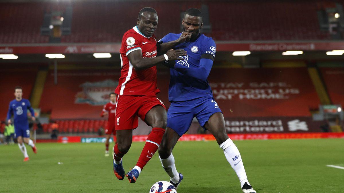 Mane, în duel cu Rudiger (Liverpool - Chelsea 0-1)