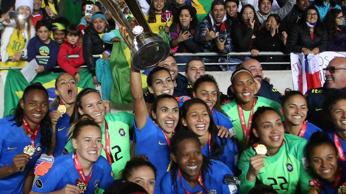 Brazil's women's national team players celebrate