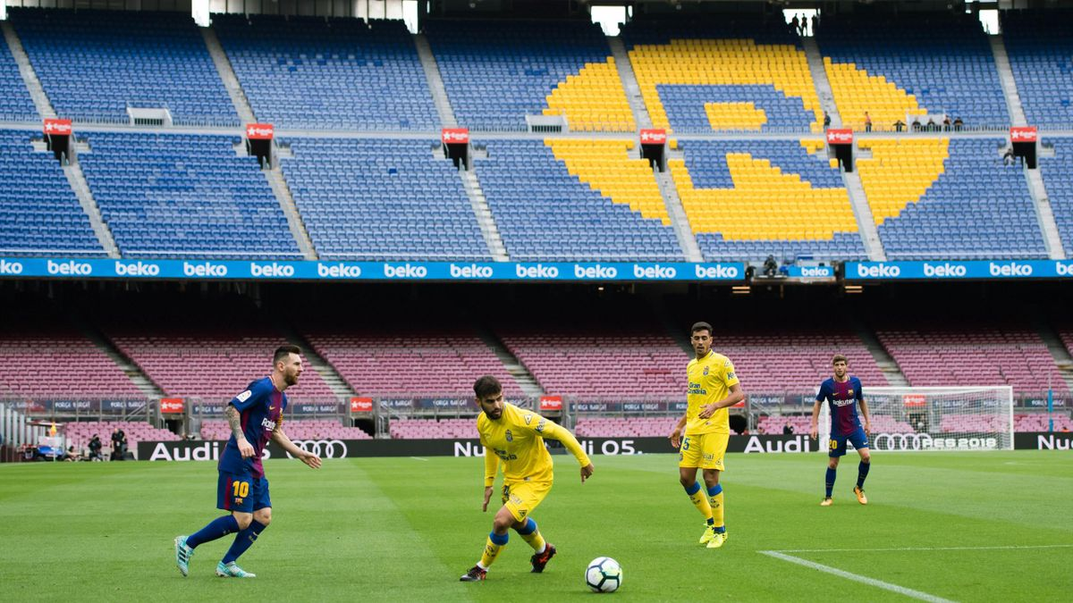 Lionel Messi plays the ball in an empty stadium