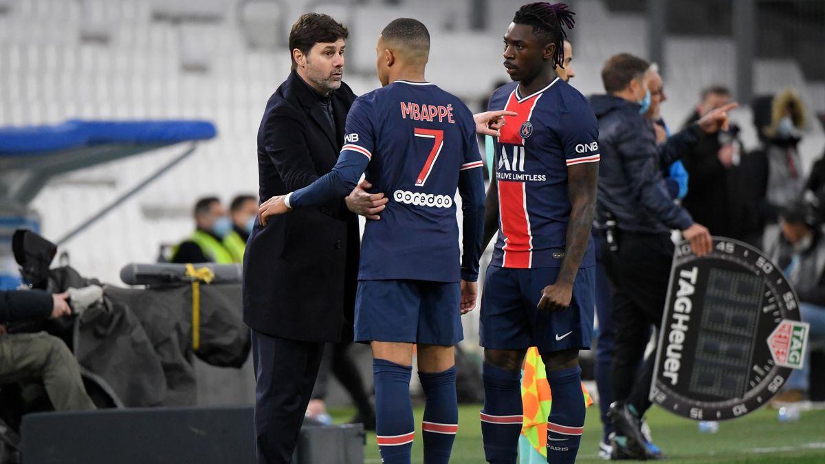 Kylian Mbappé et Moise Kean, en discussions avec Mauricio Pochettino (PSG)