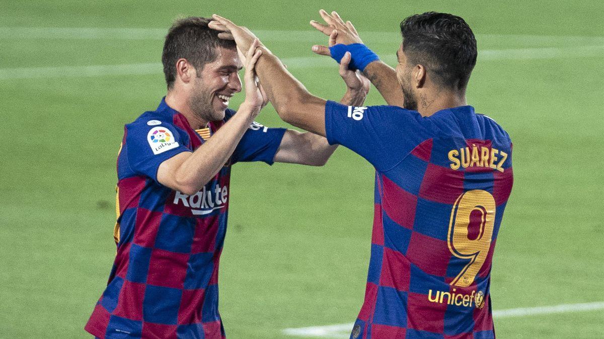 Sergi Roberto, félicité par Luis Suarez, a redonné des couleurs au Barça