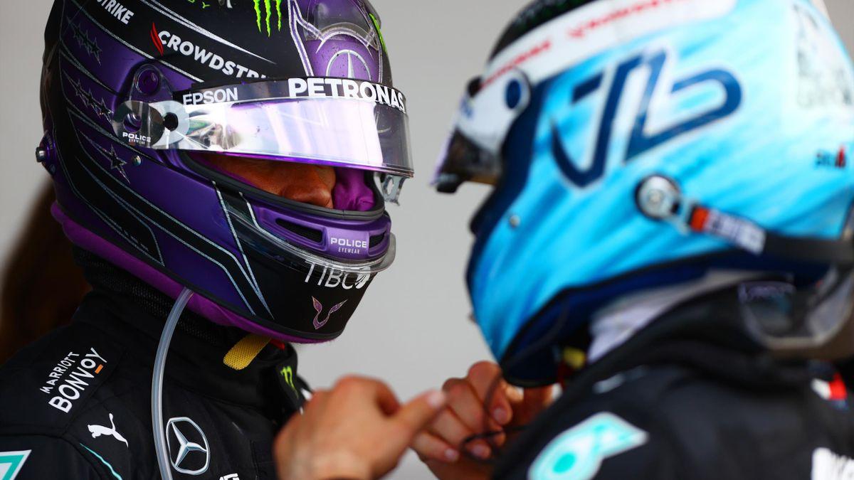 Lewis Hamilton (l.) mit Valtteri Bottas