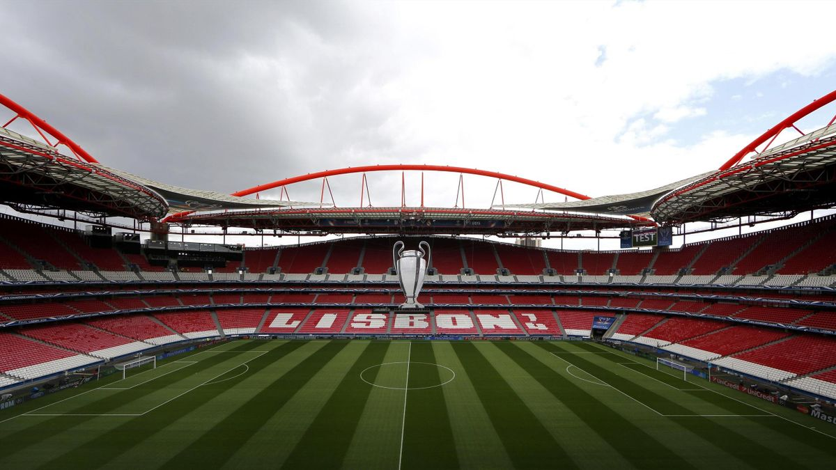 Champions League trophy hangs from the roof at the Luz stadium, a day ahead of the Champions League soccer final between Real Madrid and Atletico Madrid in Lisbon