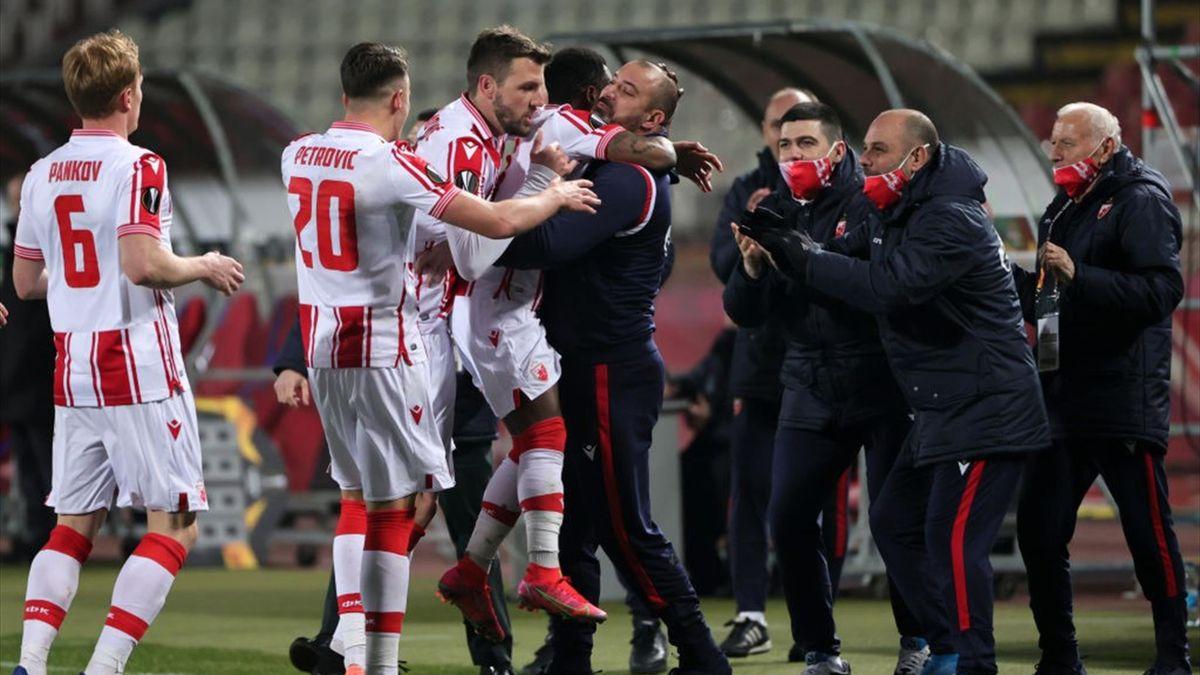 L'esultanza di Guelor Kanga - Stella Rossa-Milan Europa League 2020-21