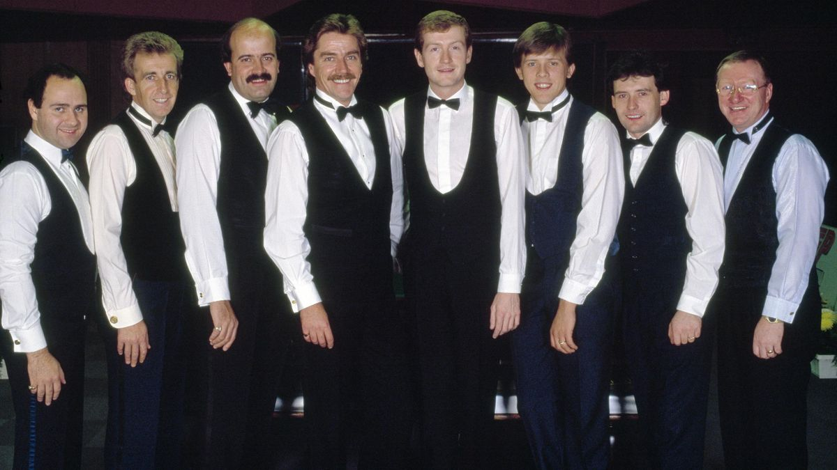Tony Meo, Terry Griffiths, Willie Thorne, Cliff Thorburn, Steve Davis, Neal Foulds, Jimmy White and Dennis Taylor in 1988.