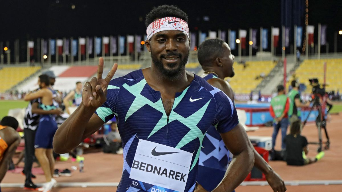Kenny Bednarek celebrates victory in the 200m, Diamond League, Qatar Sports Club stadium in the capital Doha on May 28, 2021