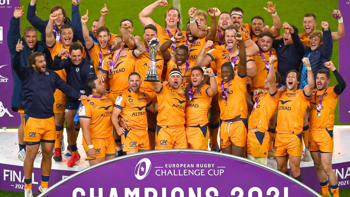 Guilhem Guirado of Montpellier lifts the European Rugby Challenge Cup after beating Leicester Tigers, Twickenham Stadium, London, May 21, 2021