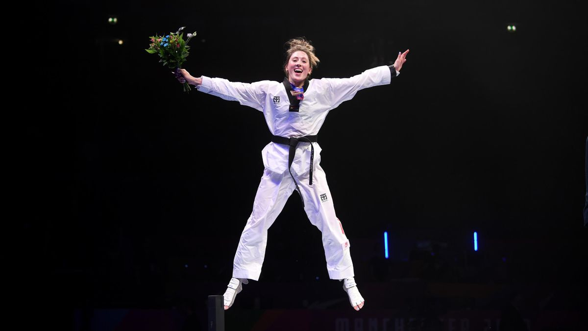 Jade Jones celebrates gold at the 2019 World Championships