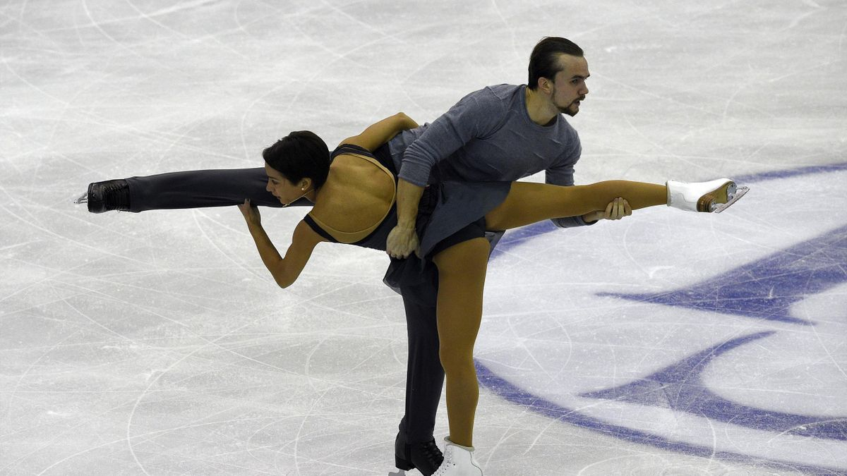 Russians Ksenia Stolbova and Fedor Klimov compete during Pairs Free Skating program at the ISU Grand Prix of Figure Skating Final 2015 in Barcelona on December 11, 2015
