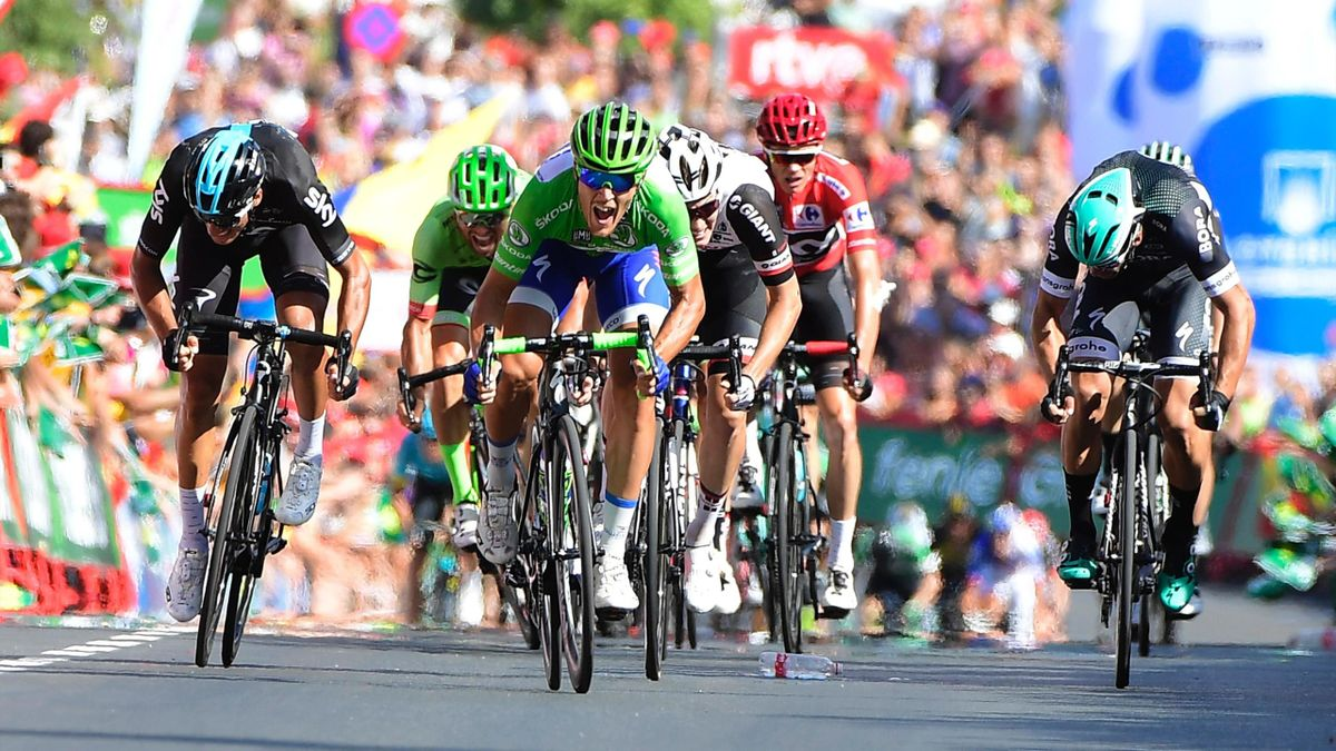 Matteo Trentin en route to winning Stage 13 of La Vuelta