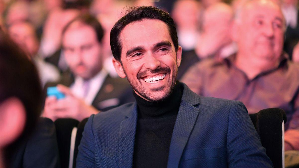 Alberto Contador tout sourire, lors de la présentation de la Vuelta 2019, fin 2018 à Alicante