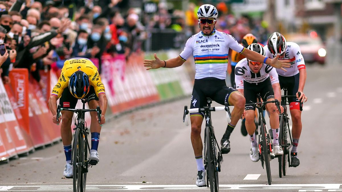 Primox Roglic takes it by a nose in the 2020 edition of Liege-Bastogne-Liege after Alaphilippe celebrates early
