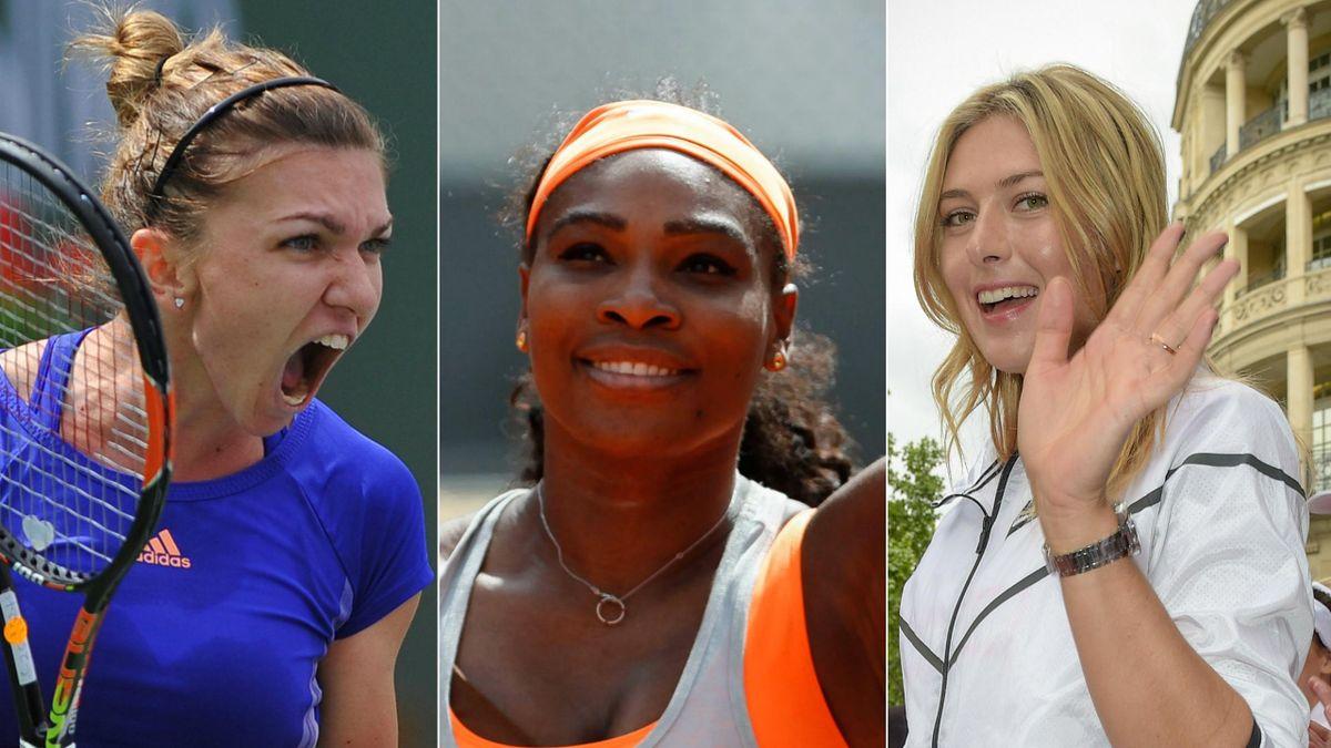 Serena Williams entourée de Simona Halep et Maria Sharapova