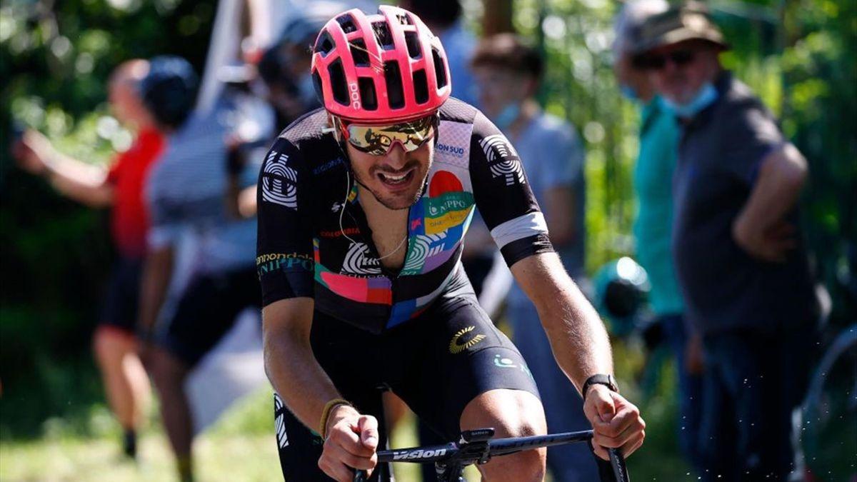 Alberto Bettiol in fuga nella tappa di Stradella - Giro d'Italia 2021