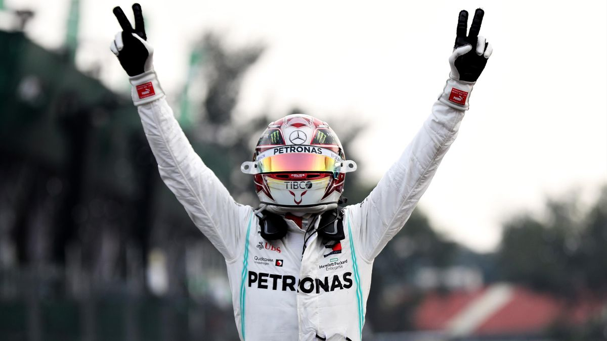 Race winner Lewis Hamilton of Great Britain and Mercedes GP celebrates in parc ferme during the F1 Grand Prix of Mexico at Autodromo Hermanos Rodriguez on October 27, 2019 in Mexico City.