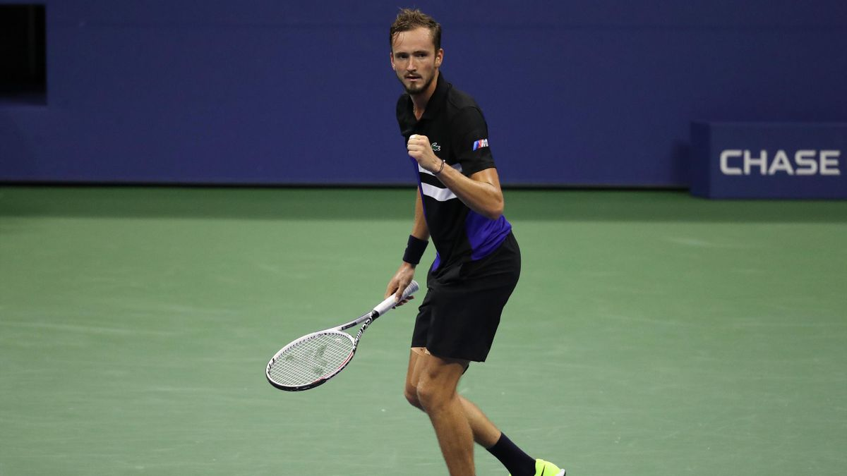 Daniil Medvedev of Russia celebrates a point during his Men's Singles fourth round match against Frances Tiafoe of the United States on Day Eight of the 2020 US Open at the USTA Billie Jean King National Tennis Center on September 7, 2020 in the Queens bo