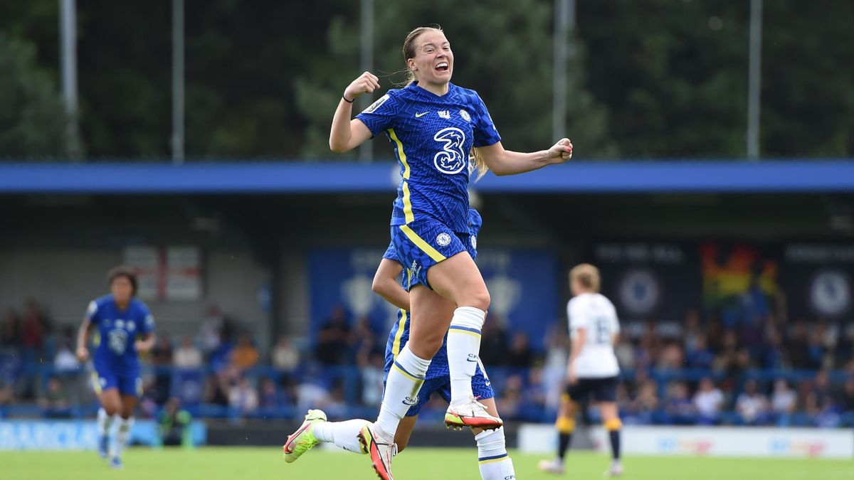 Fran Kirby of Chelsea celebrates after scoring against  Everton, FA Women's Super League, Kingsmeadow, September 12, 2021