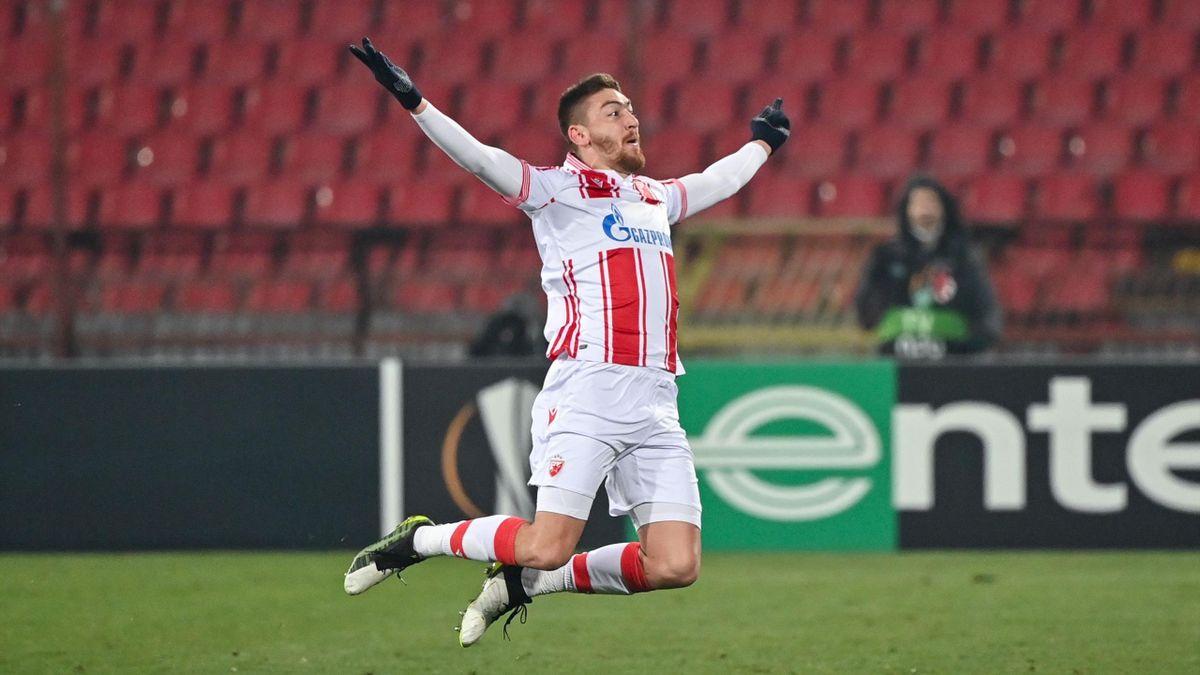 Milan Pavkov celebrates after scoring for Red Star Belgrade against AC Milan, February 18, 2021