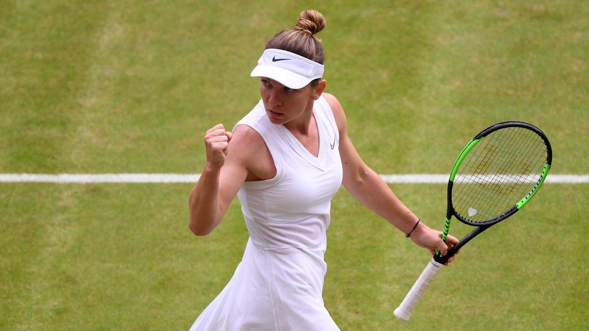 Simona Halep lors de son quart de finale à Wimbledon