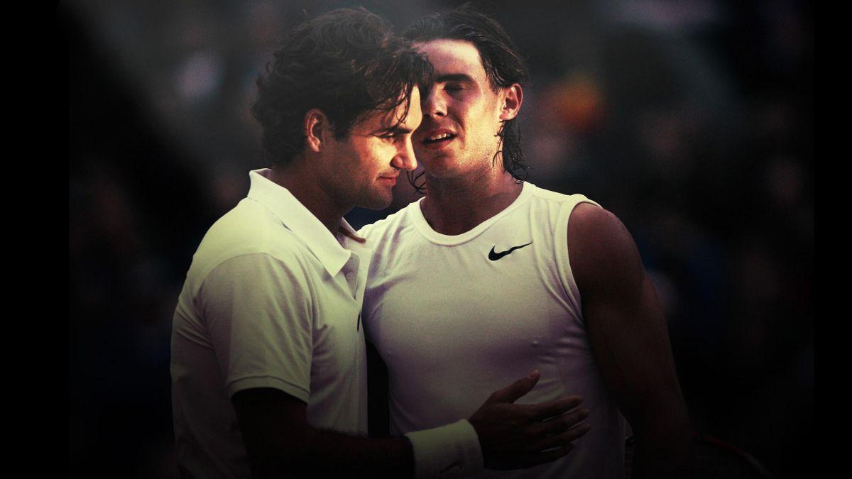 Roger Federer et Rafael Nadal lors de la finale 2008 de Wimbledon.
