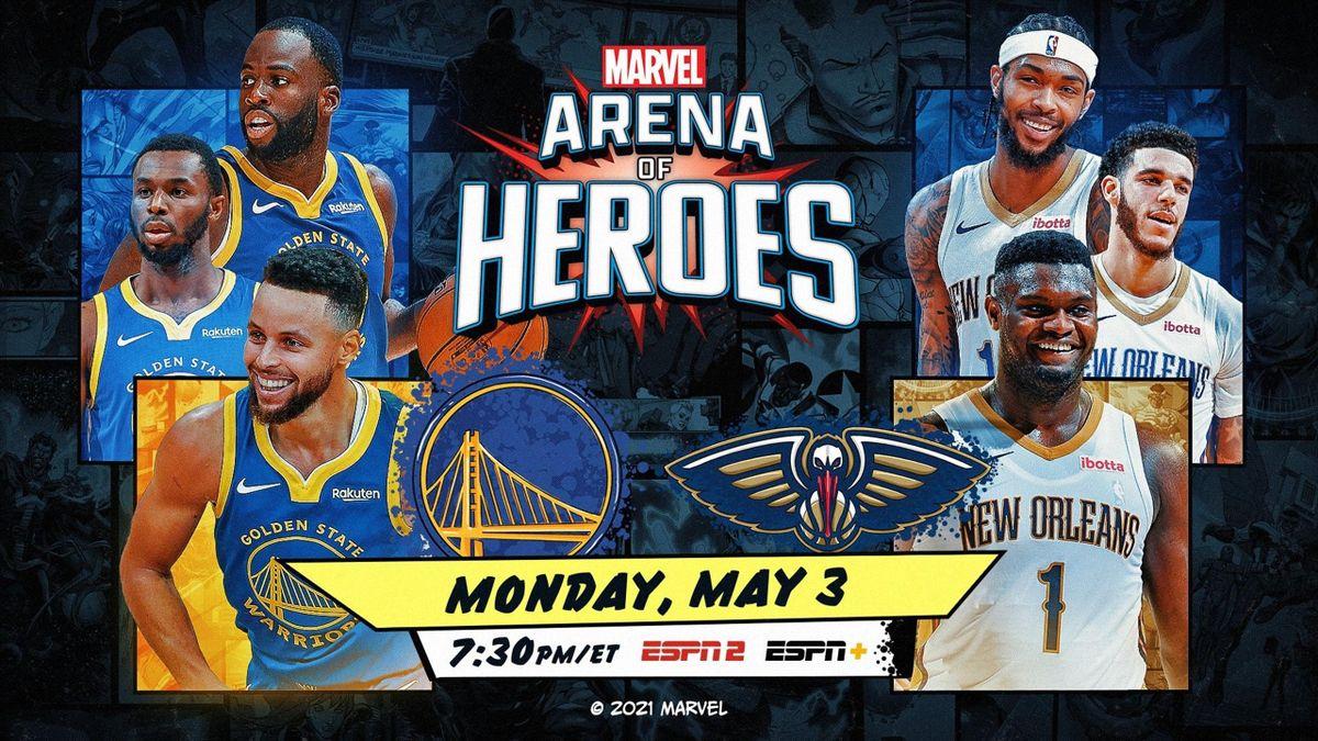 Warriors-Pelicans, Arena of Heroes Marvel, NBA