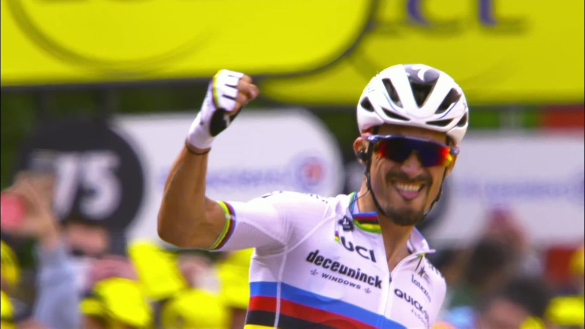 Highlights: Alaphilippe takes brilliant solo win after two huge pile-ups on Stage 1