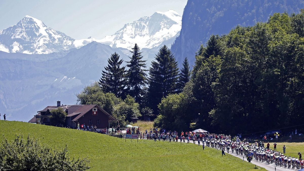 General view as the Tour de France goes into the Alps - is there a more beautiful sporting event on the planet?