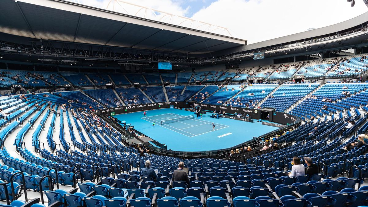 A general view of Rod Laver Arena during Serena Williams versus Laura Siegemund on day one of the 2021 Australian Open