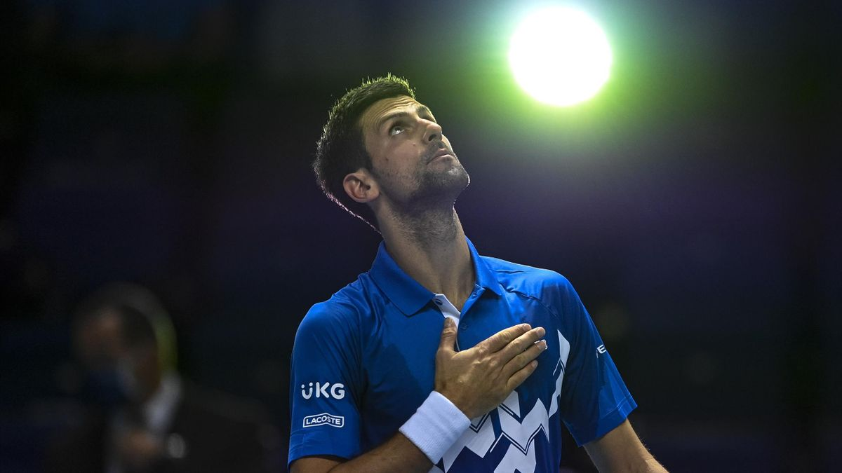 Novak Djokovic of Serbia celebrates his victory over Diego Schwartzman of Argentina during Day 2 of the Nitto ATP World Tour Finals at The O2 Arena on November 16, 2020 in London, England.