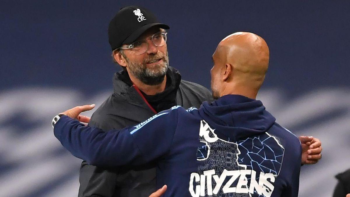 Jürgen Klopp (links; FC Liverpool) und Pep Guardiola (ManCity)