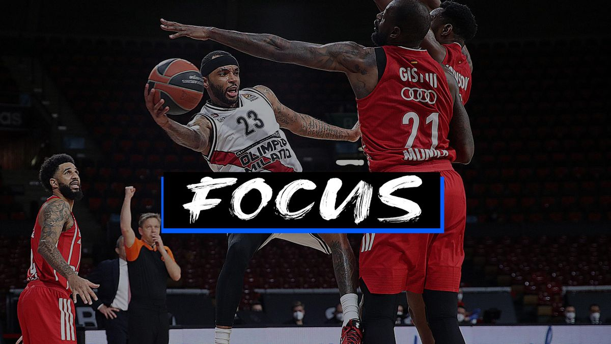 Malcom Delaney #23 of AX Armani Exchange Milan during the 2020/2021 Turkish Airlines Euroleague Play Off Game 3 between FC Bayern Munich and AX Armani Exchange Milan at Audi Dome on April 28, 2021 in Munich, Germany