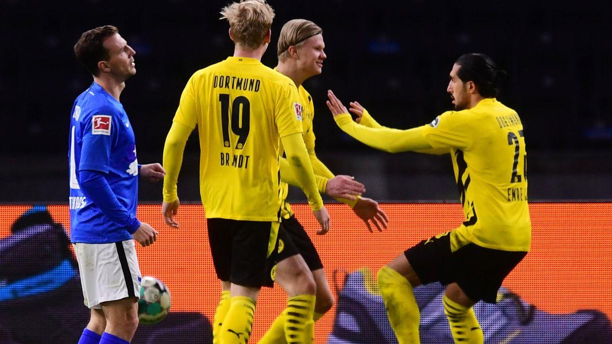 Erling Haaland jubelt über ein Tor gegen Hertha BSC