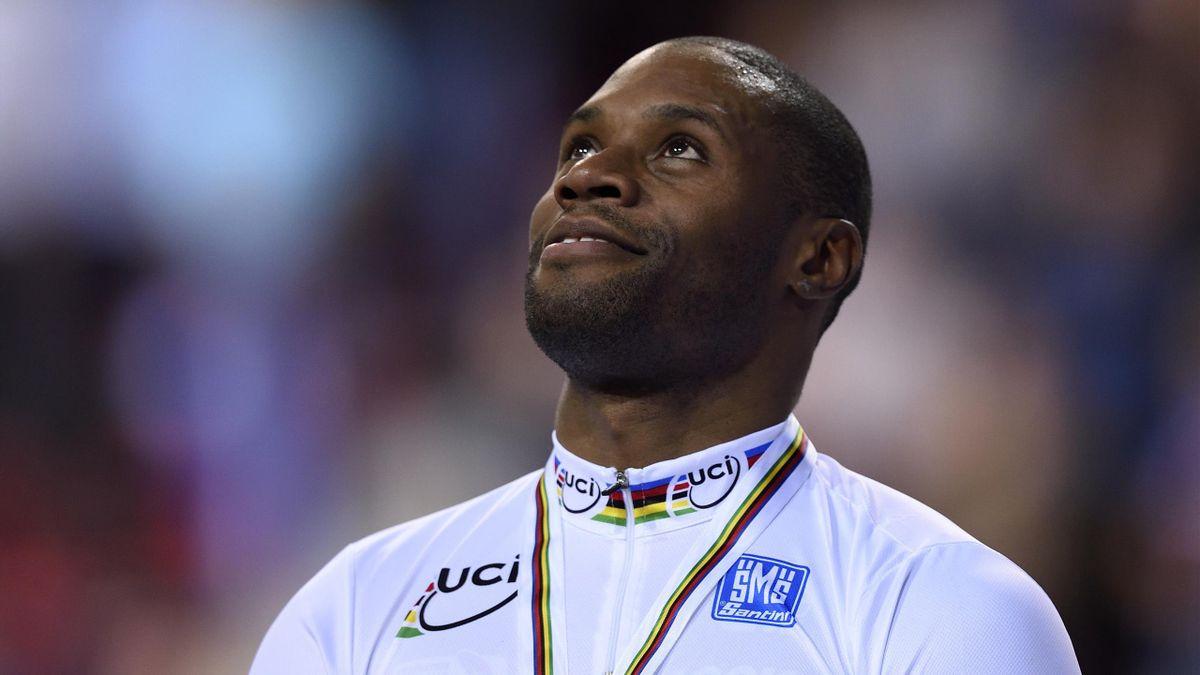 Grégory Baugé champion du monde de vitesse individuelle à Saint-Quentin-en-Yvelines, le 22 février 2015