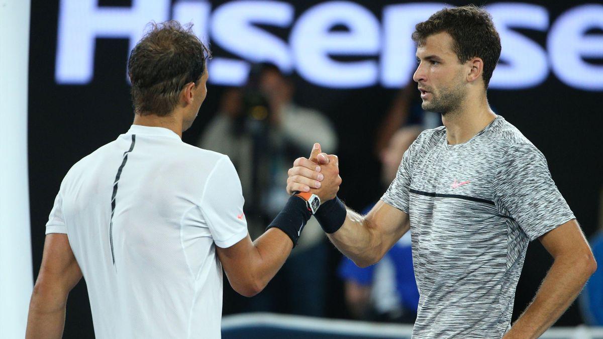 Grigor Dimitrov gratuliert Rafael Nadal nach dem Halbfinale der Australian Open 2017 zum Sieg