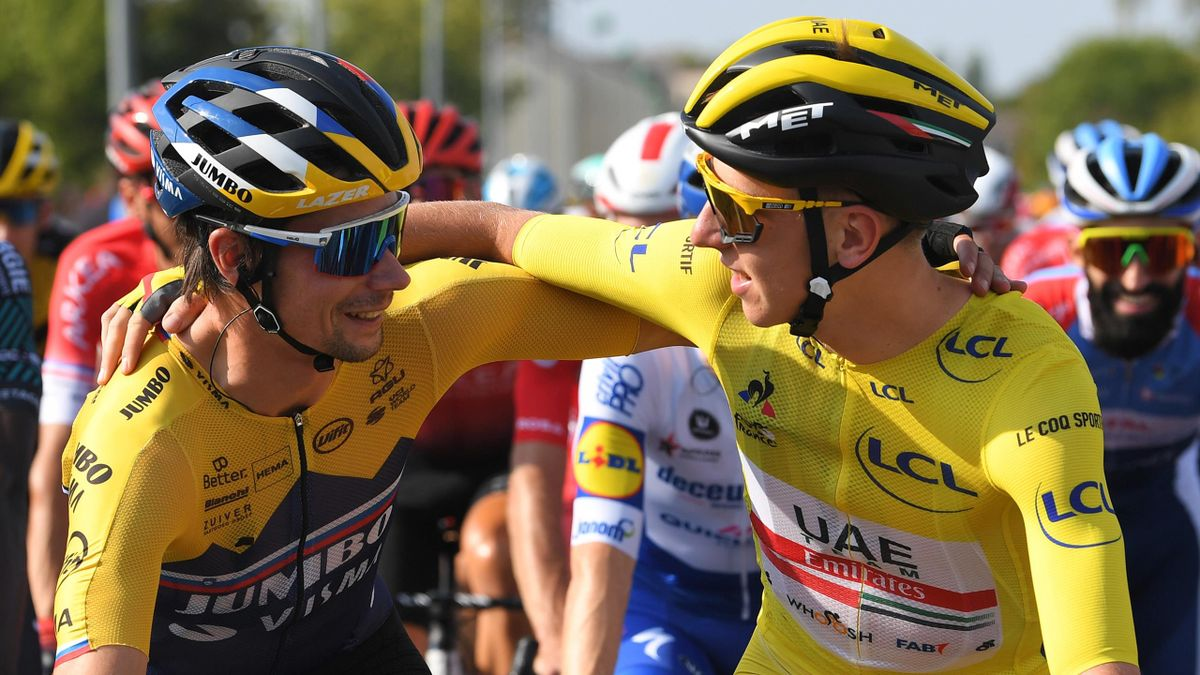 Primoz Roglic of Slovenia and Team Jumbo - Visma / Tadej Pogacar of Slovenia and UAE Team Emirates Yellow Leader Jersey / during the 107th Tour de France 2020, Stage 21 a 122km stage from Mantes-La-Jolie to Paris Champs-Élysées
