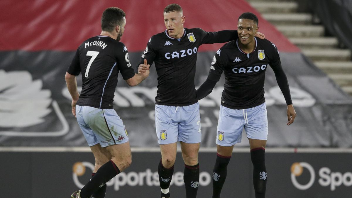 Ross Barkley of Aston Villa is congratulated by team-mates John McGinn and Ezri Konsa after he scores a goal to make it 1-0 during the Premier League match between Southampton and Aston Villa at St Mary's Stadium on January 30, 2021 in Southampton