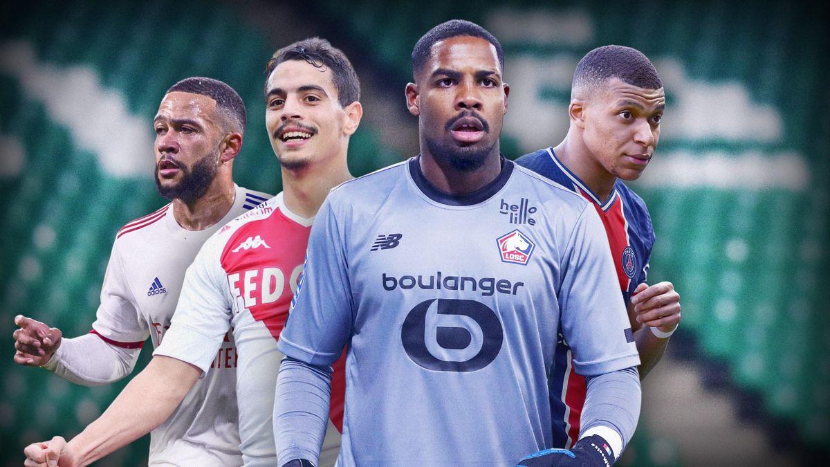 Memphis Depay (Lyon), Wissam Ben Yedder (Monaco), Mike Maignan (Lille), Kylian Mbappé (PSG)
