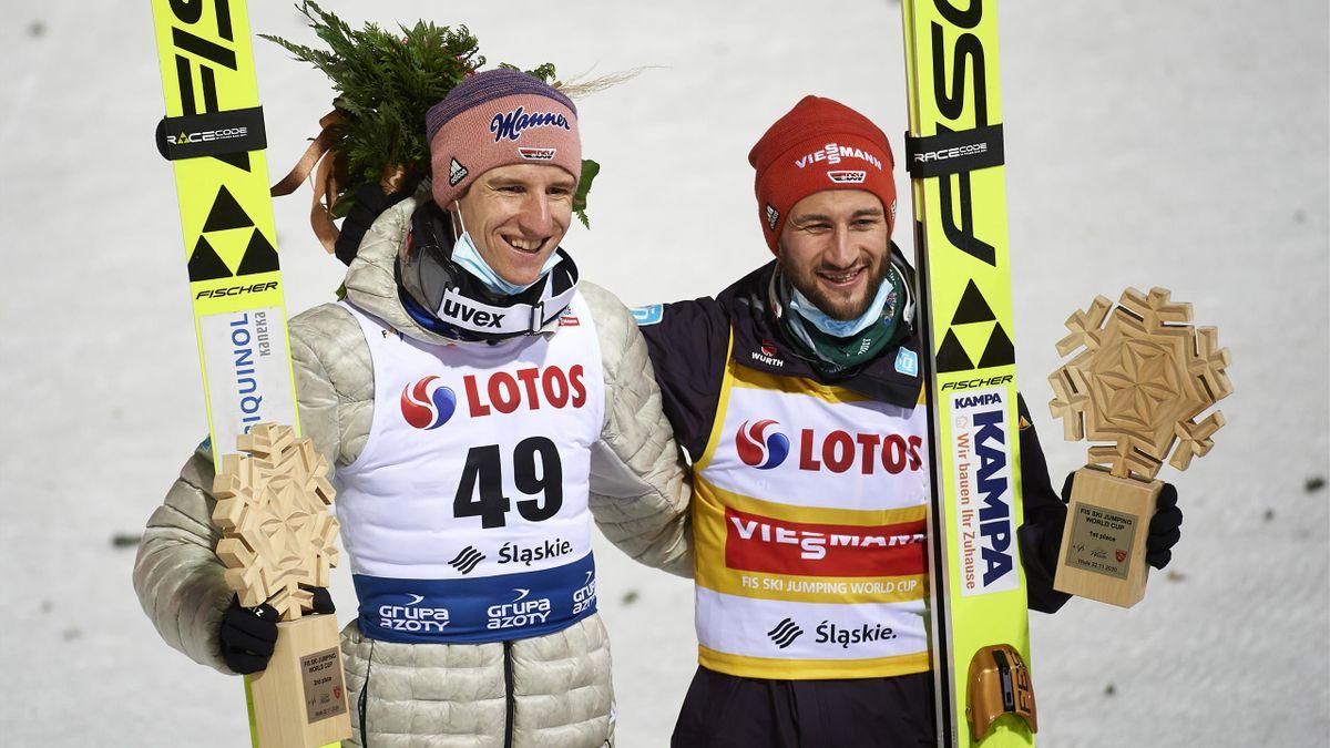 Karl Geiger (l.) und Markus Eisenbichler