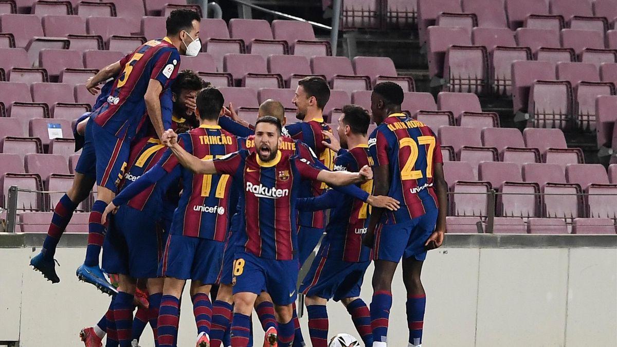 Der FC Barcelona jubelt über den Finaleinzug in der Copa del Rey