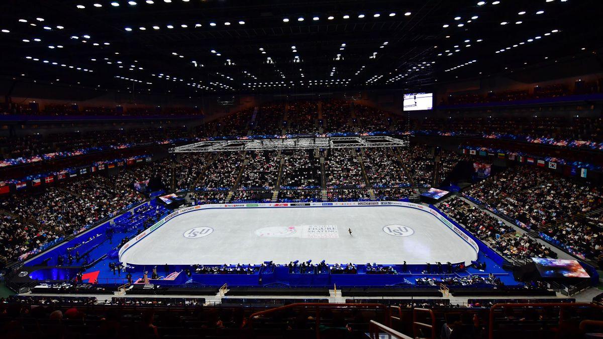 La patinoire de Saitama lors des Mondiaux 2019 de patinage artistique