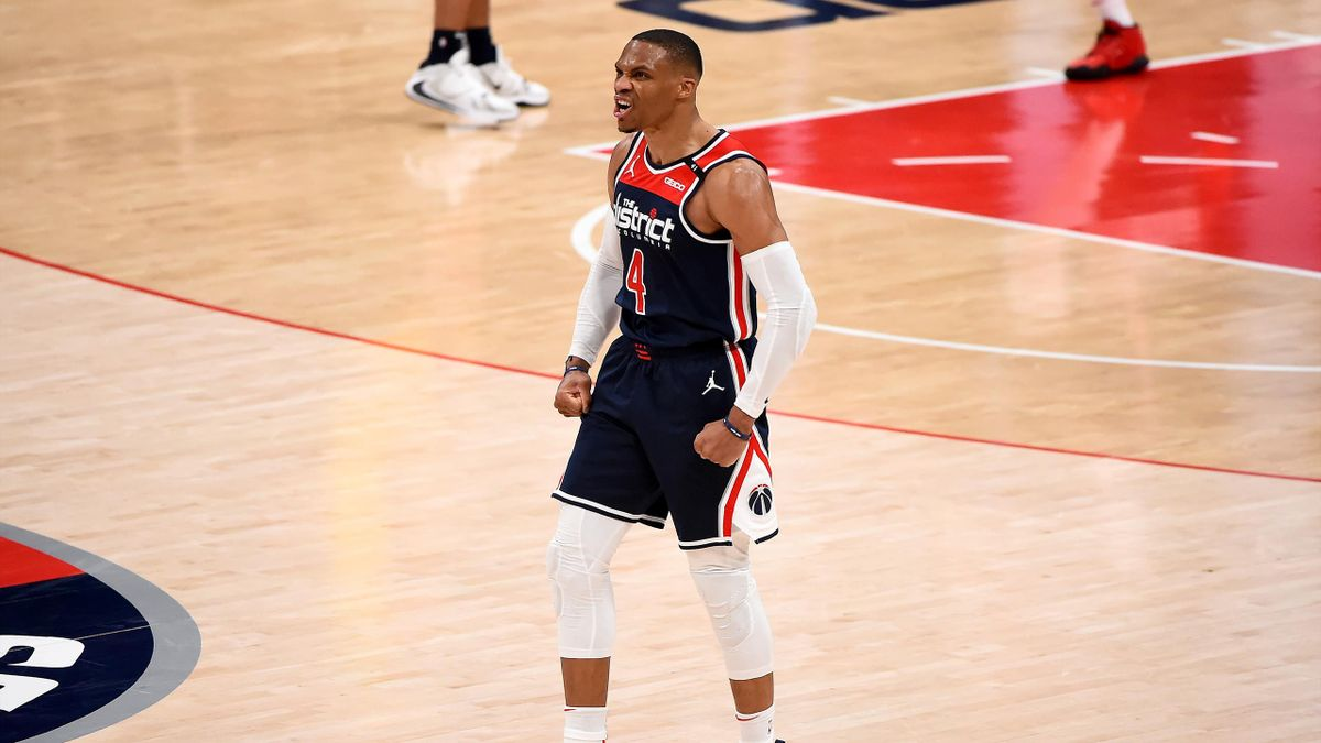 Russell Westbrook #4 of the Washington Wizards reacts after a play against the Indiana Pacers during the second half at Capital One Arena on March 29, 2021 in Washington,