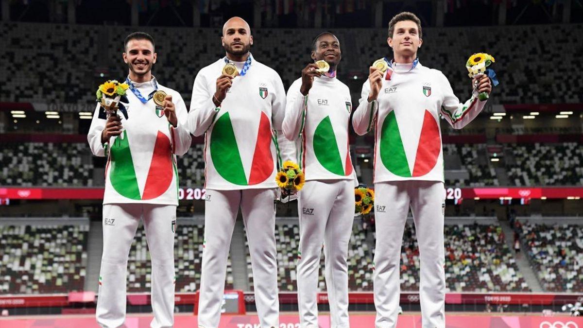 La staffetta 4X100, medaglia d'oro alle Olimpiadi di Tokyo 2020