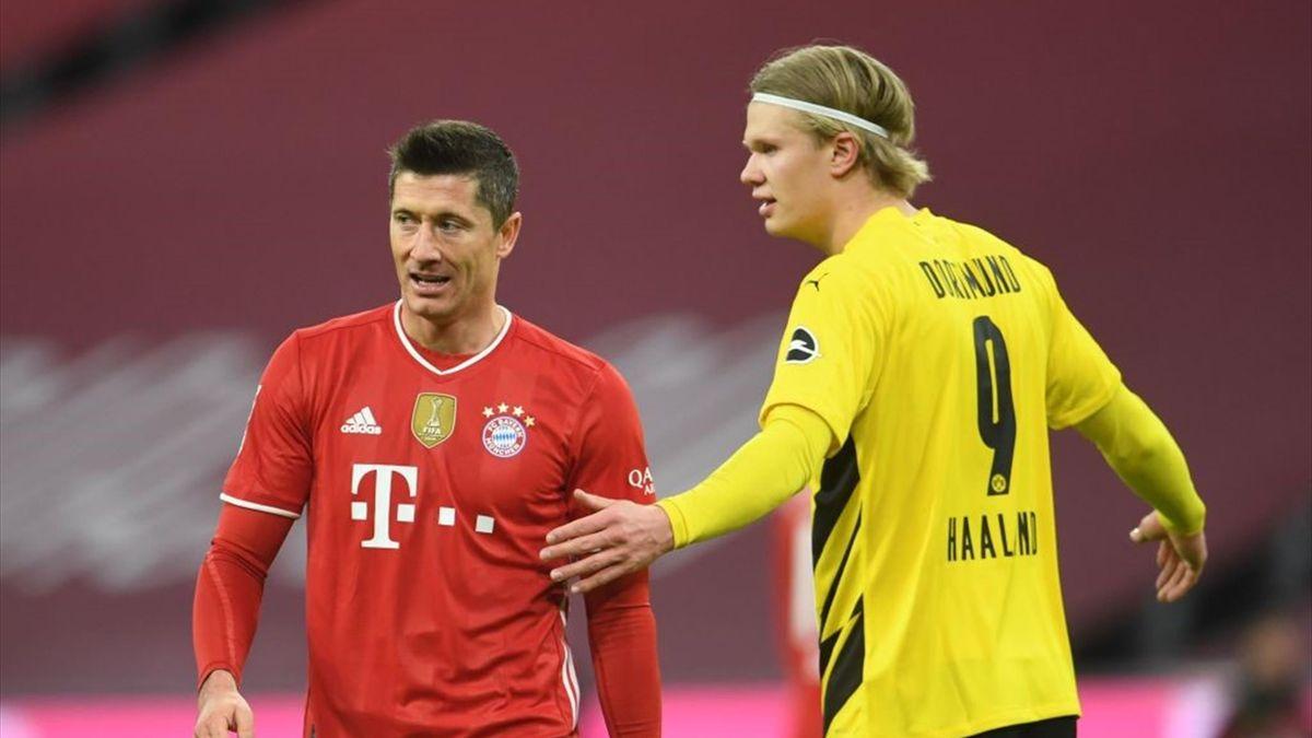 Erling Haaland (Borussia) și Robert Lewandowski (Bayern)