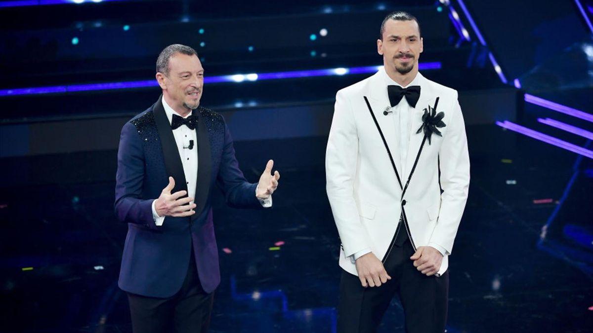 Amadeus e Zlatan Ibrahimovic sul palco del Festival di Sanremo