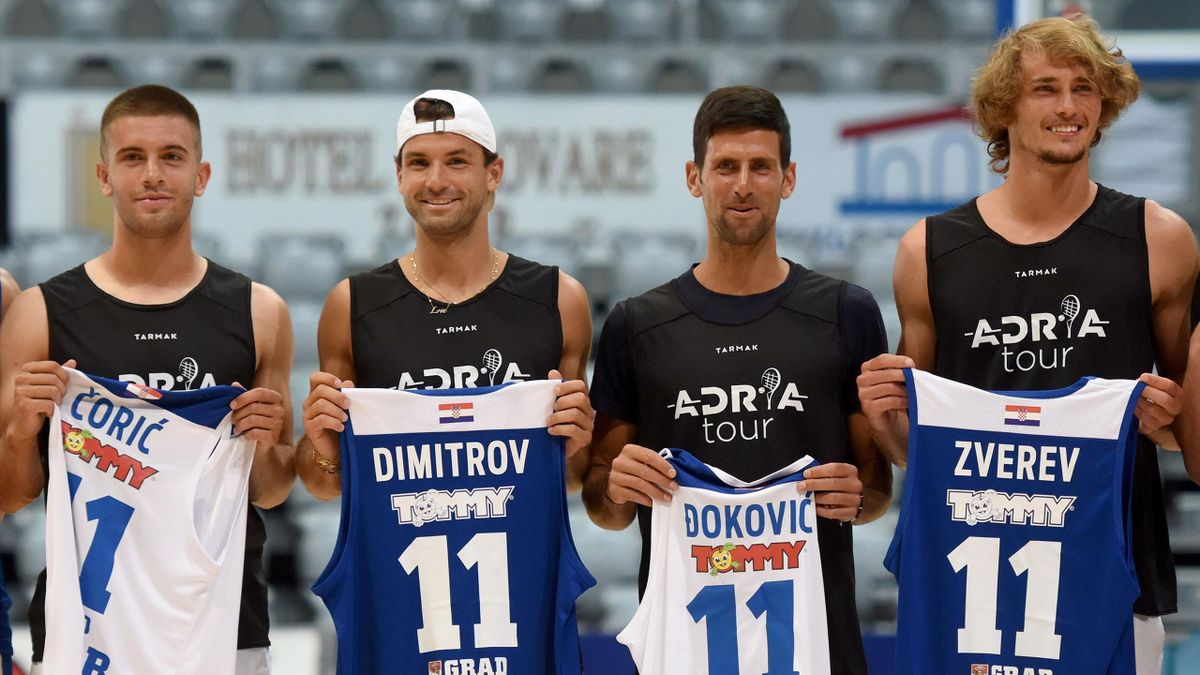Croatia's Borna Coric, Bulgaria's Grigor Dimitrov, Serbia's Novak Djokovic and Germany's Alexander Zverev pose for a group photograph ahead of an exhibition basketball match in Zadar