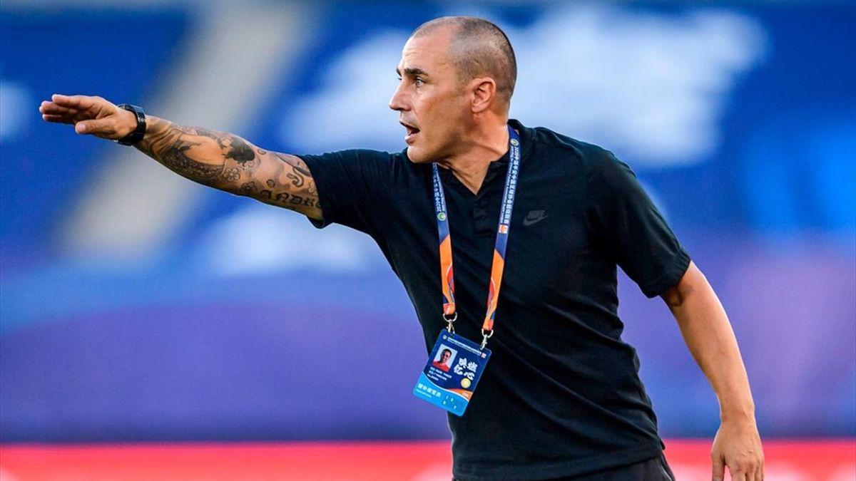 Fabio Cannavaro dà indicazioni dalla panchina durante Shanghai Shenhua-Guangzhou Evergrande - Chines Super League 2020 - Getty Images