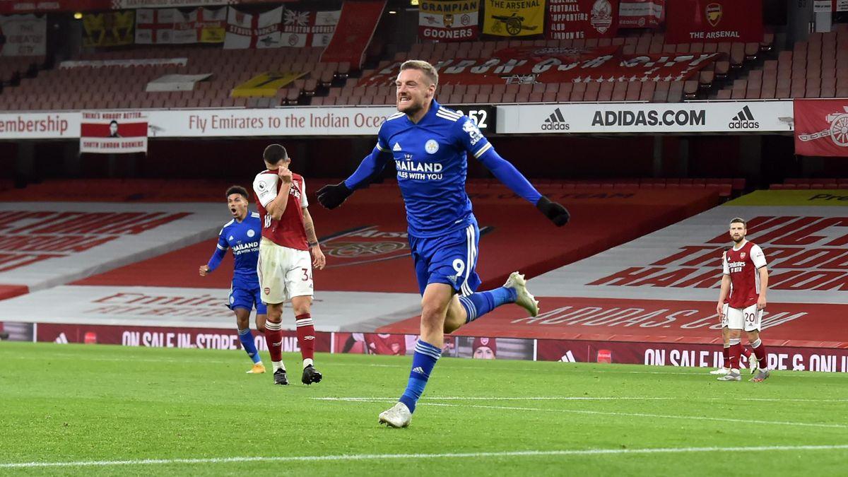 Jamie Vardy a marcat singurul gol al partidei câștigate de Leicester pe Emirates din LOndra împotriva lui Arsenal